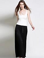 burdully sólida pantssimple pierna ancha de las mujeres