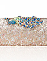 L.west Women Elegant High-grade The Peacock Flowers Diamonds Evening Bag
