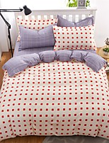 Bedtoppings Comforter Duvet Quilt Cover 4pcs Set Queen Size Flat Sheet Pillowcase Cheque Prints Microfiber