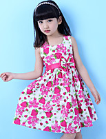 Girl's Casual/Daily Floral DressCotton Summer Purple / Red