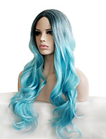 Somke Blue Pastel Fashion Personality Charming Natural Women's Trendy Wigs with Dark Roots Celebrity Style It Girls