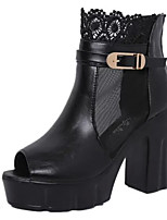 Women's Sandals Summer Peep Toe PU Casual Chunky Heel Buckle Black / White Others