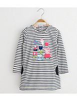Girl's Casual/Daily Striped DressCotton / Rayon Spring / Fall Gray