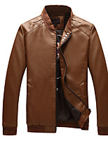 Men's Long Sleeve Casual / Work / Formal / Sport / Plus Size JacketPU / Cotton / Polyester Patchwork / Letter