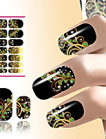 Flower Nail Art Sticker Water Decals Resin Black Dream Peacock Feathers Design For Nails Decorations Manicure Wraps