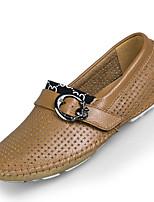 Herren-Loafers & Slip-Ons-Lässig-Leder-Flacher Absatz-Komfort-Schwarz / Blau / Braun / Gelb