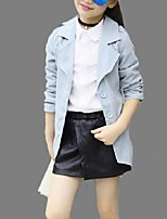 Girl's Casual/Daily Solid Trench CoatCotton Spring / Fall Blue