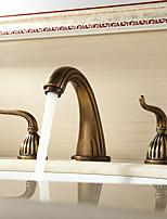 Contemporary / Antique / Traditional / Modern Widespread with  Ceramic Valve Two Handles Three Holes for  Antique Copper