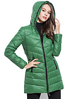 Women's Solid Blue / White / Black / Brown / Green / Yellow Down CoatSimple Hooded Long Sleeve