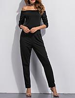 Women's Solid Black JumpsuitsVintage Off Shoulder Long Sleeve