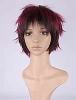 новый парик COS мужчина вино красный градиент характер повернуть вверх короткий парик 6 дюймов