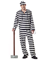 Cosplay Costumes / Party Costume Zombie Festival/Holiday Halloween Costumes Black/White Striped Top / Pants / Hats Halloween Male Terylene