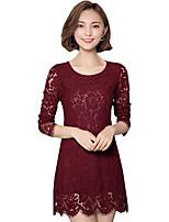 Damen Hülle / Spitze Kleid-Ausgehen / Lässig/Alltäglich / Übergröße Einfach / Street Schick Solide / Patchwork Rundhalsausschnitt Mini