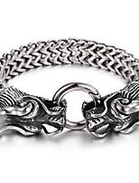 Cheap 316L Stainless Steel Link Chain Double Dragon Charm Bracelet High Polishing Men Accessory Gift For Boyfriend