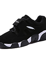 Men's Flats Fall / Winter Comfort / Round Toe PU Casual Flat Heel Others / Lace-up Black / Black and White Walking