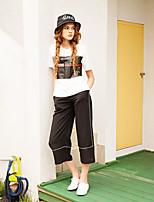 LIANGSANSHI  Women's Casual/Daily Simple Summer T-shirt,Print Round Neck Short Sleeve White Cotton Thin