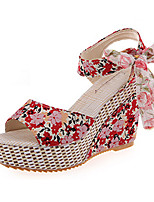 Women's Sandals Summer Platform Fabric Casual Chunky Heel Bowknot Black / Blue / Red Others