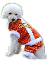 New Year Festival Brocade  Embroidery Traditional Chinese Garments Dogs Coat for Pets Puppy Dogs