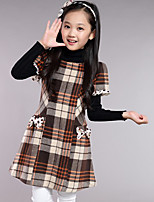 Girl's Casual/Daily Plaid DressWool Spring / Fall Red / Gray