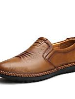 Коричневый / Хаки-Мужской-Для офиса / На каждый день / Для вечеринки / ужина-Кожа-На плоской подошве-Удобная обувь-Мокасины и Свитер