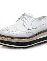 Women's Oxfords Fall Platform Leather Casual Platform Lace-up Black / Brown / Green / White Others