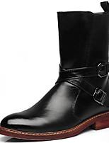 Черный / Красный-Мужской-Для вечеринки / ужина-Наппа Leather-На толстом каблуке-Военные ботинки / Модная обувь-Ботинки