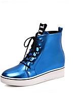 Mujer-Tacón Plano-Bailarinas-Zapatillas de deporte-Casual-Semicuero-Azul / Rojo / Plata