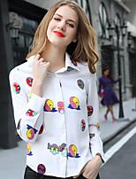 AJIDUO® Женский Рубашечный воротник Длинные Рубашка и Блузка Золотистый / Тёмно-синий-A9285