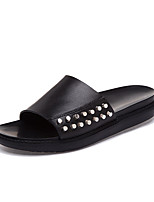 Women's Sandals Summer Scuff Leather Casual Flat Heel Rivet Black White Others