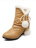 Women's Boots Fall / Winter Snow Boots PU Outdoor / Dress / Casual Flat Heel Others Black / Pink / Almond /