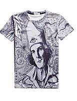 Herren T-shirt-Druck Freizeit / Sport Baumwolle / Polyester Kurz-Grau