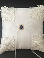 White 1 Ribbons Rhinestones Embroidery Satin