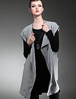 LUTING Women's Shirt Collar Sleeveless Vest & Waistcoat Black / Gray-6040