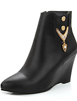 Women's Boots Winter Fashion Boots / Pointed Toe Dress Wedge Heel Zipper Black / Brown / Burgundy Others