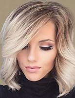 Natural Wavy Charming  Wigs With Bangs Virgin Human Hair Mixed Color 14 Inch