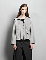 Damen Solide Einfach Ausgehen / Lässig/Alltäglich Jacke,Mit Kapuze Frühling / Herbst Langarm Grau / Gelb Baumwolle Mittel