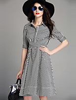Women's Plus Size / Casual/Daily Simple Shirt DressStriped Shirt Collar Knee-length  Length Sleeve Black Polyester