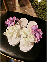 Women's Slippers & Flip-Flops Summer / Fall Scuff PVC Casual Flat Heel Satin Flower White Others