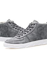 Черный / Серый / Хаки-Мужской-На каждый день-Дерматин-На плоской подошве-Удобная обувь / С круглым носком / С закрытым носком-На плокой