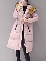 Women's Solid Pink / Black / Gray Padded CoatStreet chic Hooded Long Sleeve