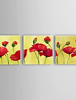 Stretched Frame Hand-Painted Red Flower Oil Painting on Canvas Home Wall Art Ready to Hang