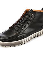 Men's Sneakers Fall / Winter Comfort PU / Cowhide Outdoor / Casual Flat Heel Lace-up Black / Brown Walking