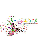 Wall Stickers Wall Decals Style Flower Fairy To Swing PVC Wall Stickers