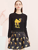 I'HAPPY Women's Going out Cute Spring / Fall Set SkirtAnimal Print Round Neck Long Sleeve Black