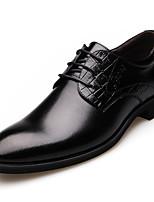 Черный / Коричневый-Мужской-На каждый день-Дерматин-На плоской подошве-Удобная обувь / С острым носком / С закрытым носком-Туфли на