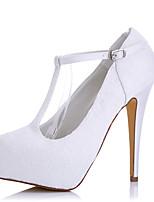 Белый-Женский-Свадьба Для праздника Для вечеринки / ужина-Шёлк Тюль-На шпильке На платформе-На платформе-Обувь на каблуках