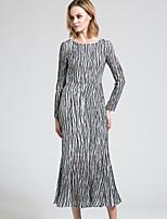 BORME Women's Round Neck Long Sleeve Maxi Dress-Y035