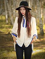 Damen Stickerei Chinoiserie Ausgehen T-shirt,Rundhalsausschnitt Frühling / Herbst Langarm Weiß Baumwolle Mittel