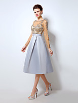 Cocktail Party Dress A-line Scoop Knee-length Satin / Tulle with Appliques / Crystal Detailing