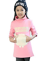Girl's Casual/Daily Patchwork Tee / BlouseCotton Winter / Spring / Fall Black / Pink / Gray